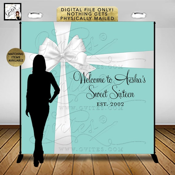 Welcome to Sweet Sixteen Backdrop / Audrey Hepburn Teen Party Signs / Table Backdrops Entrance Poster PRINTABLE Sweet 16 Welcome Sign