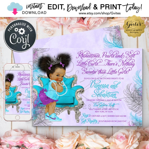 """Purple Turquoise & Silver Baby Shower Invitation Template / Afro Puff Baby Theme/ Little Princess. {Instant Download} 7x5"""" Double Sided."""