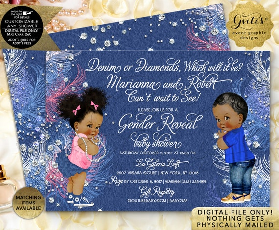 Gender Reveal Baby Shower Invitations African American Denim or Diamonds | JPG + PDF by Gvites