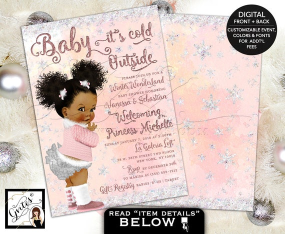 Winter Wonderland Shower Pink & Silver Baby it's Cold Outside Invitations/ African American puffs/ Ethnic vintage Baby Girl Silver Diaper