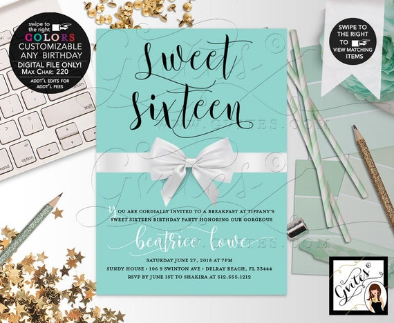 "Sweet Sixteen Birthday Invitations | Breakfast at Theme Audrey Hepburn Style cards | Vintage Invitations. DIY/ Digital File 5x7"""