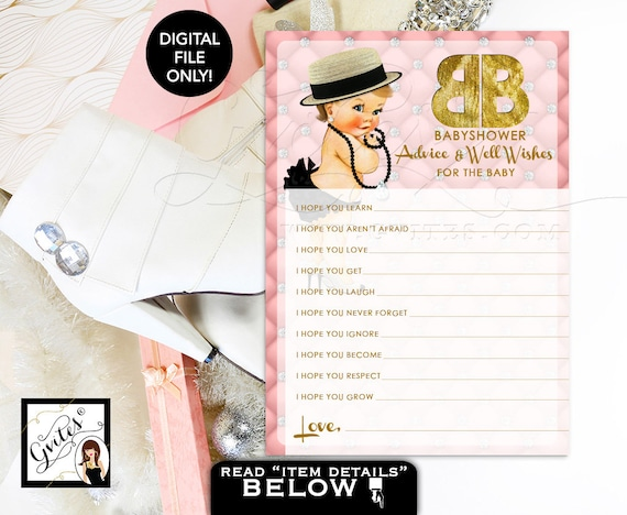 """Pink and Gold Advice Wishes for baby/ designer baby advice card/ pink gold diamonds pearls/ party printable. {You Print} 5x7"""" 2 Per Sheet."""