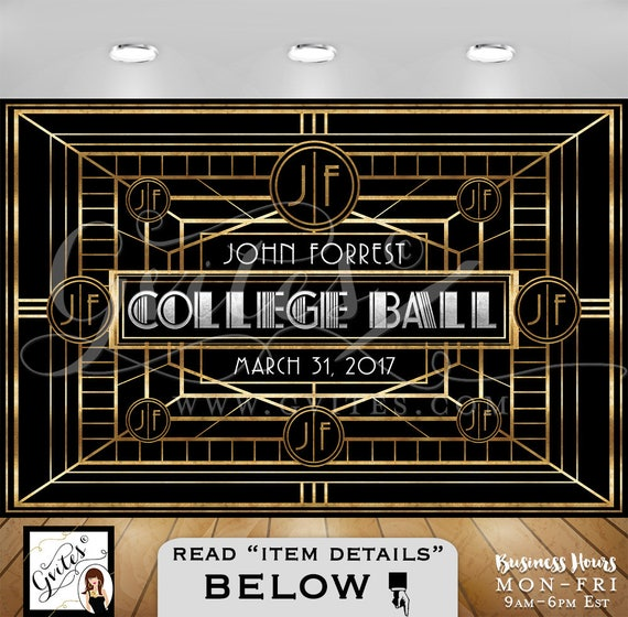 Great Gatsby Backdrop | College Ball Decorations | Printable JPG + PDF