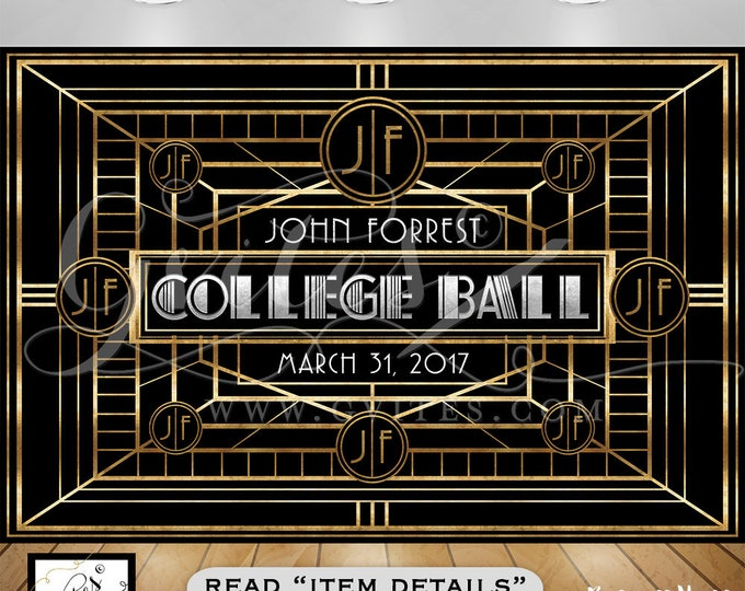 Great Gatsby Backdrops, the great gatsby theme party banner, backdrops, college ball photo booth, graduation, prom, PRINTABLE.