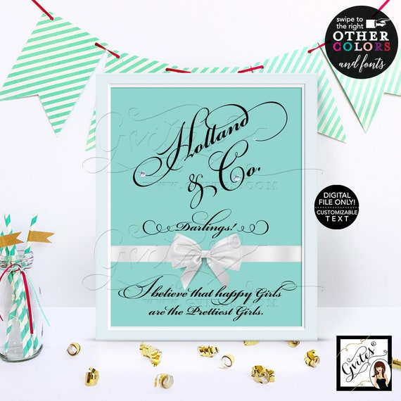 Custom party signs/ turquoise blue party printables/ Audrey Hepburn quote sign/ print/ table decor/ bridal shower/ birthday/ wedding/ 8x10