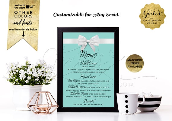 """Elegant Menu Cards Customizable Any Event. Breakfast at Bridal Co Blue & White Bow/Printable 4x6/5x7 or 4x9"""" Digital."""