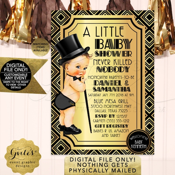 Gatsby Baby Shower Invitations | Black and Gold Vintage/1920s themed | Boy Printable Party Invites 5x7 Gvites