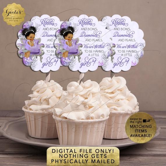 "Cupcake Toppers Lavender Silver Baby Shower | Ethnic Girl Vintage | Printable Digital File | JPG + PDF | 2.5x2.5"" 9 Per Sheet {Avery® 08218}"