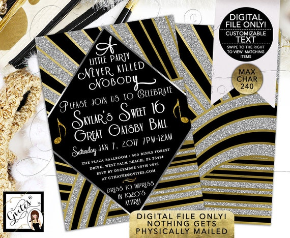 Great Gatsby Sweet 16 Printable \ The Great Gatsby Birthday Invitations \ Gold and Black Party \ Double Sided 5x7. DIGITAL FILE ONLY! Gvites
