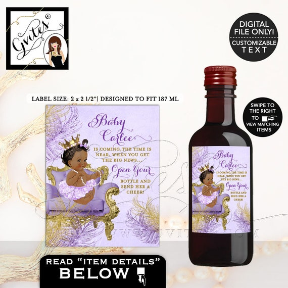 MINI Baby Shower Wine Labels/ lavender and gold {2x2.5 12 Per/ Sheet}