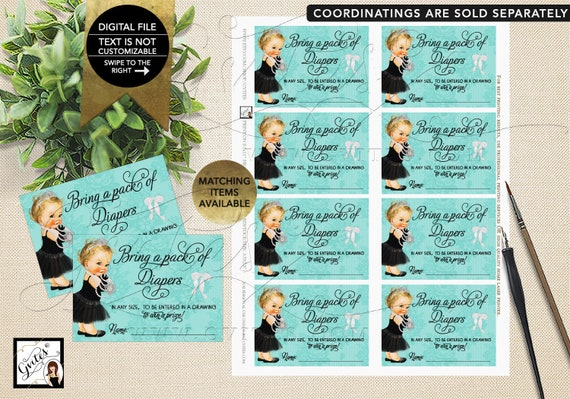 """Baby & Co Diaper Raffle Baby Shower Inserts, Party Printable. 3.5x2.5"""" 8/Sheet. {INSTANT DOWNLOAD/Baby: Light Blonde}"""