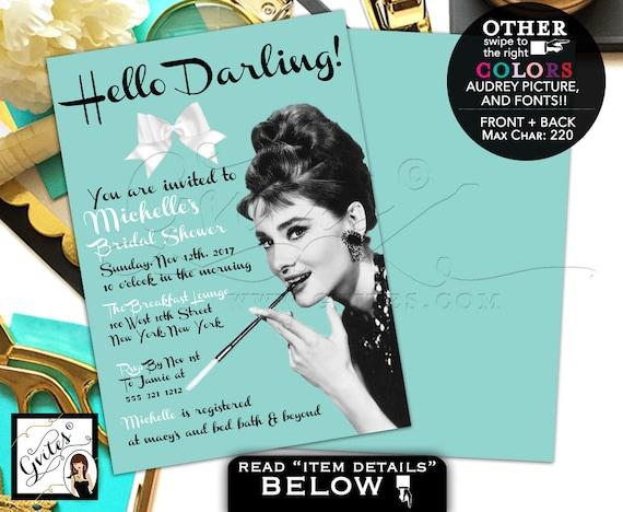 Breakfast Co Bridal Shower Invitation / Audrey Hepburn Printable Invitation / Hello Darling! Wedding Champagne Lingerie shower