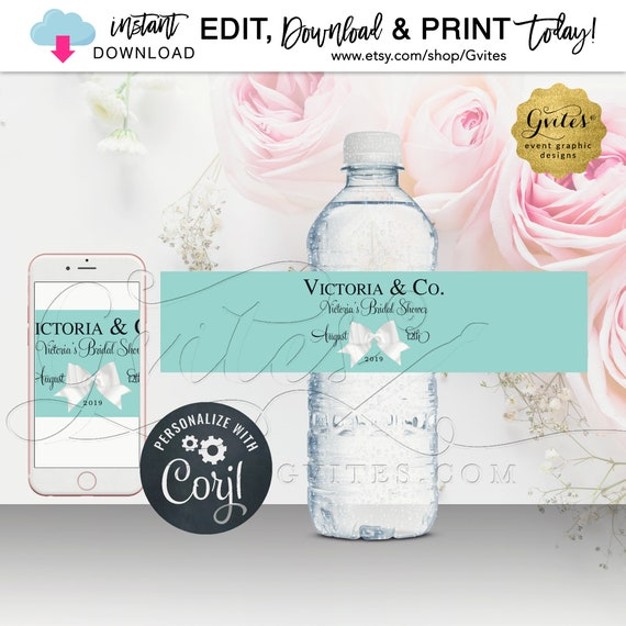 Bridal Shower Water Bottle Labels/ Printable Party Favors/ Breakfast at Theme/ Name and Co. {Instant Download}