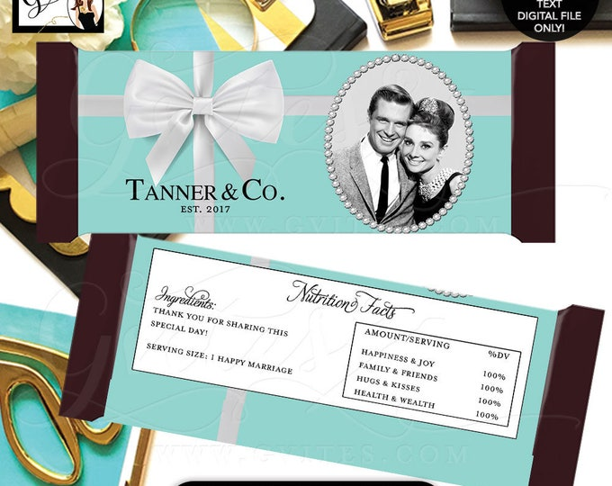 Audrey Hepburn Candy Bar Wrappers, bridal shower, couples shower, breakfast at co personalized. Digital. Nutrition Facts NOT customizable