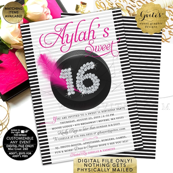 Sport's Theme Sweet 16 Pink Black White Invitations | Hockey Invitation | Teen Birthday Girl Party Printable | Customizable Any Event 5x7""