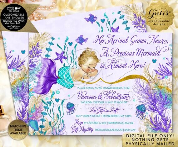 Mermaid Baby Shower Invitations Gold Teal Violet Purple   JPG + PDF by Gvites