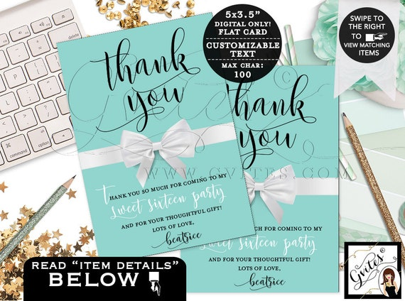 Personalized Sweet 16 Thank You Cards. Breakfast at Name & Co Customizable Greeting Cards. Digital File.