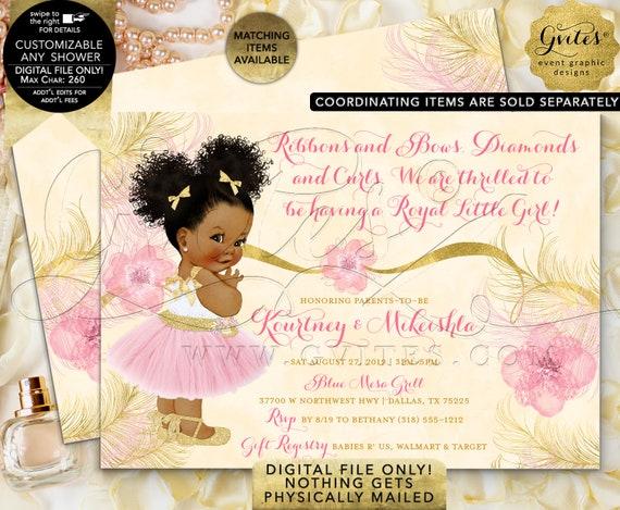 Ballerina Baby Shower Pink Gold Invitation Ethnic Girl | Printable Digital File Only! JPG + PDF Format | By Gvites