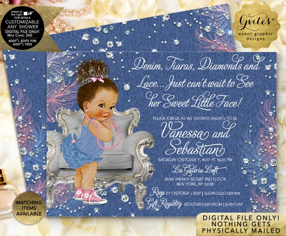 Med Bun/Curly Denim Tiaras Diamonds and Lace Baby Shower Invitations | Printable/Digital File JPG + PDF | Double Sided 7x5"