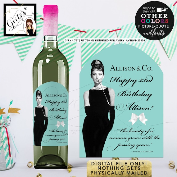 Happy 23rd Birthday Wine Labels Audrey Hepburn. {Designed For Avery® 22826}