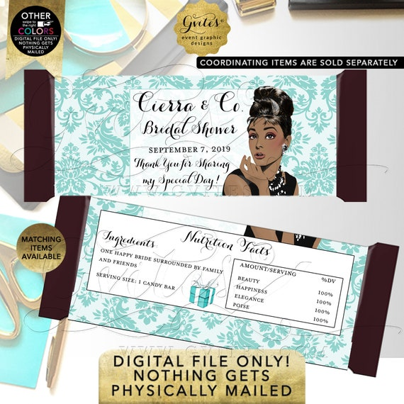 Personalized Blue Candy Bar Wrapper Labels / Party Favors /Bridal Shower Gifts Table Decorations / Audrey Hepburn African American.
