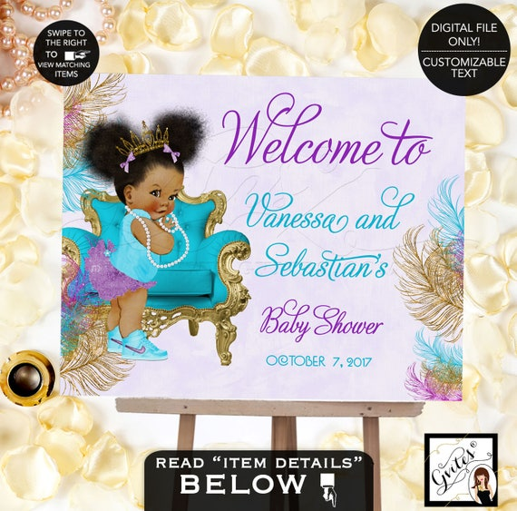 Welcome Sign Baby Shower Turquoise Purple Gold | African American girl tiara princess ribbons bows Afro Puffs | TIACH-105