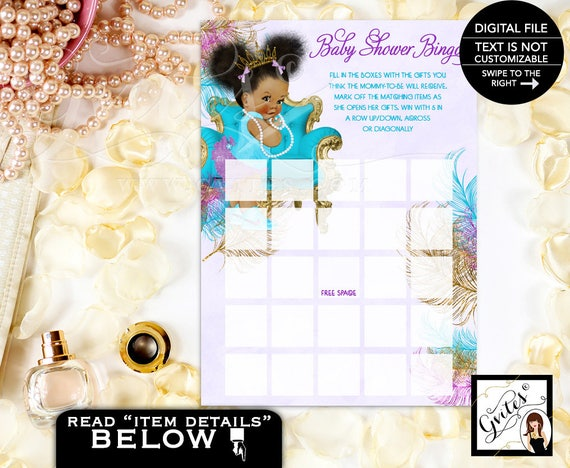 Instant Download Dark/ Puffs Baby Girl Baby Shower Bingo Card Turquoise Purple Gold  {TIACH-105}