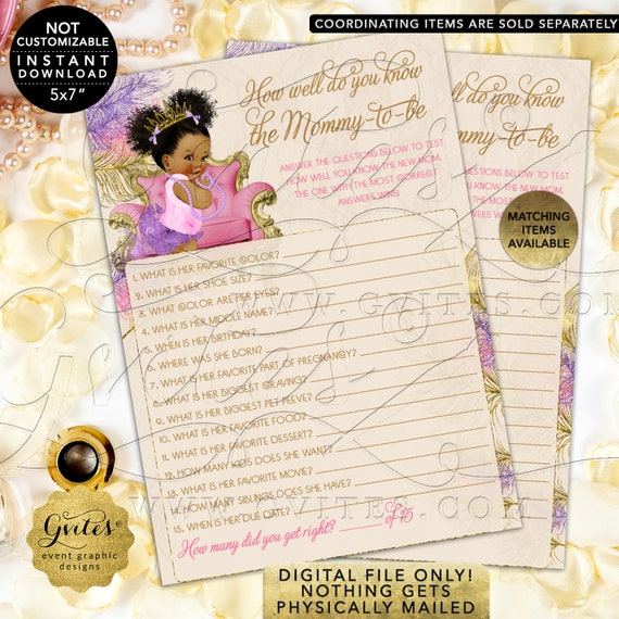 How Well Do You Know Mommy-To-Be Baby Shower Game Pink Purple Gold | Dark Puffs/Curly | Instant Download JPG + PDF | Design: TIACH-120