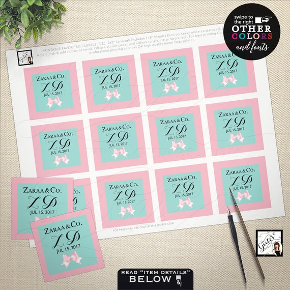 """Pink & Blue Gift tags / Breakfast themed Tags / Breakfast at Co blue labels / Theme party decor, cupcake toppers, favors 2x2"""" PRINTABLE"""