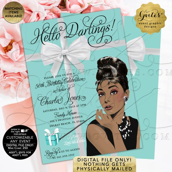 "50th Birthday Invitation | Audrey Hepburn African American Vintage Theme | 5x7"" Double Sided"