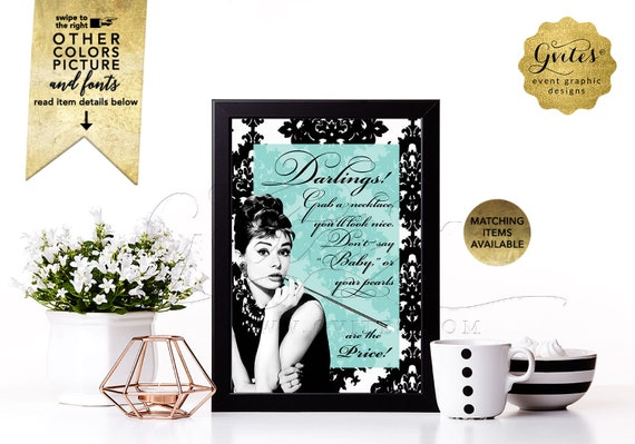 """Wedding Games Don't Say Baby Pearl Necklace Sign / Audrey Hepburn Blue Party Game Fun Baby Shower / INSTANT DOWNLOAD / 4x6, 5x7 or 8x10"""""""