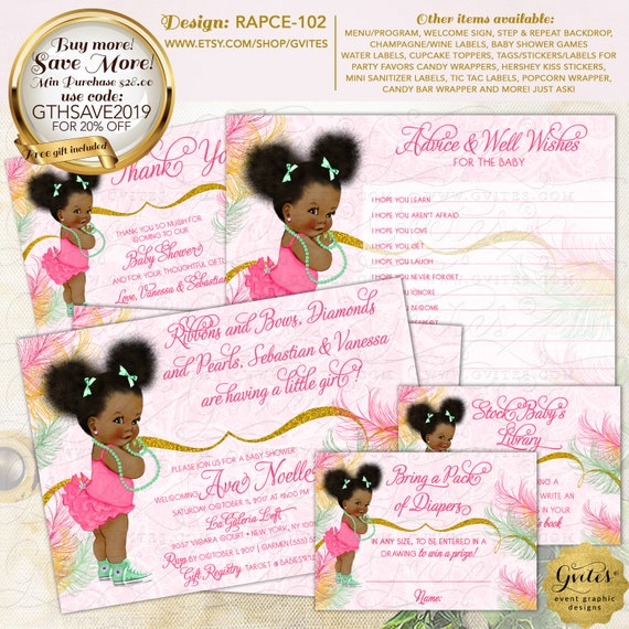 Hot Pink Mint & Gold African American Baby Baby Shower Party Printable | Design: RAPCE-102 By Gvites