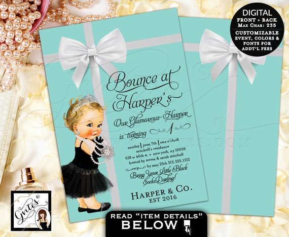 Baby & Co First Birthday Invitation | Breakfast Party Themed | Vintage/Classic Audrey Hepburn Printable Design