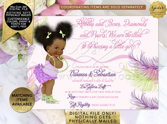 Pink Purple and Lime Green Baby Shower Invitation/ African American girl/ ruffles/ diamonds/ pearls. Afro Puffs. Gvites