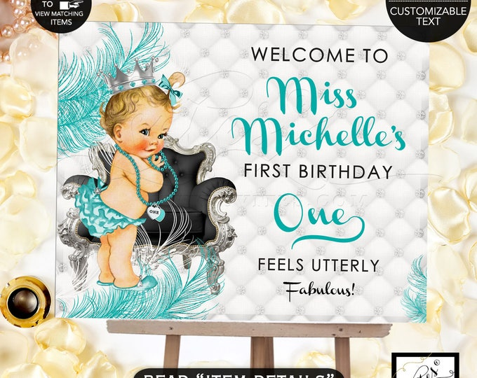 Welcome Birthday Sign Princess First Birthday Party, Poster, Printable, Blue and Silver, Party Banner Sign, DIY, Digital File!
