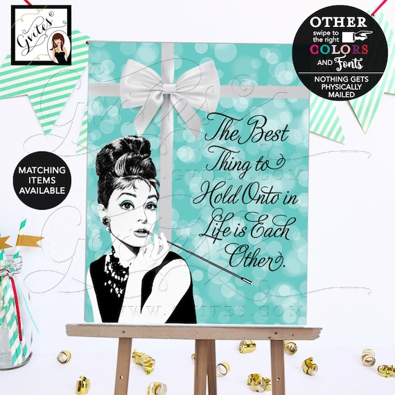 Breakfast at Bridal Shower Decorations, Audrey Hepburn Quote Poster, Signs, Decor, Table Centerpiece, Welcome.
