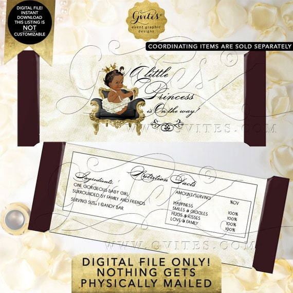 Girl Baby Shower Candy Bar Wrappers / INSTANT Download / Princess African American Ethnic Baby Shower