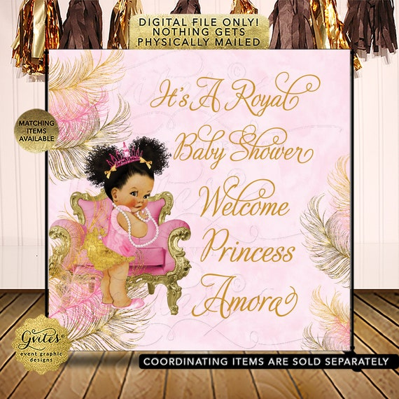 Pink & Gold Backdrop Baby Shower Photo Decorations/ Afro Bun Puffs Curly Vintage Girl/ Pink Slippers Princess/ Digital File JPG + PDF