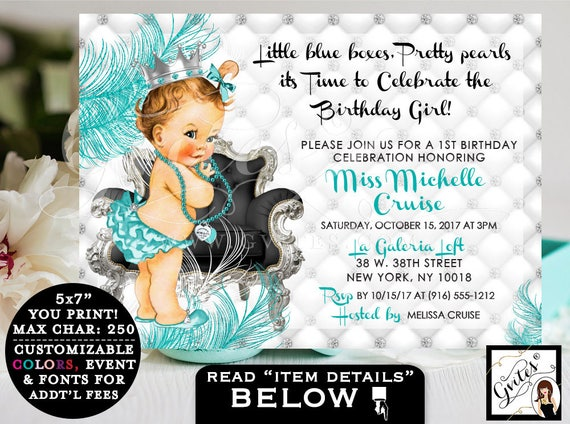 Breakfast at FIRST BIRTHDAY Invitations/ Vintage Baby & Co Blue and Silver Crown Princess Ruffle Pants / diamonds and pearls