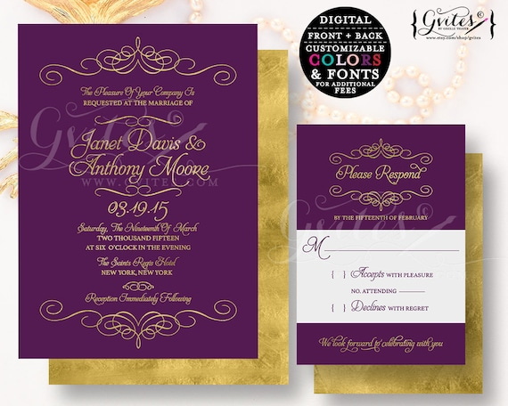 Purple & Gold Wedding Invitation/ Modern Royal Gold Glitter printable plum cards/ Couture Glitz Glam