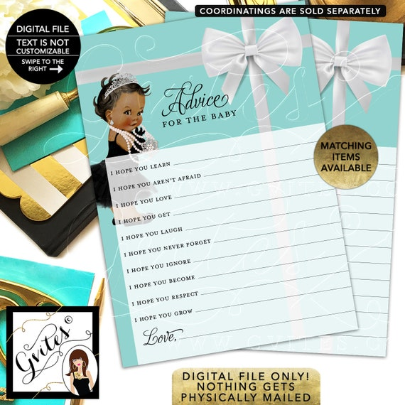 """Advice For The Baby Shower Printable. 5x7""""/2 Per Sheet {INSTANT DOWNLOAD/Baby: Dark Jet}"""
