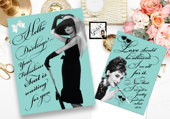 Bridal Shower Decorations Audrey Hepburn Party Themed 8x10 & 5x7 {Set of 2}