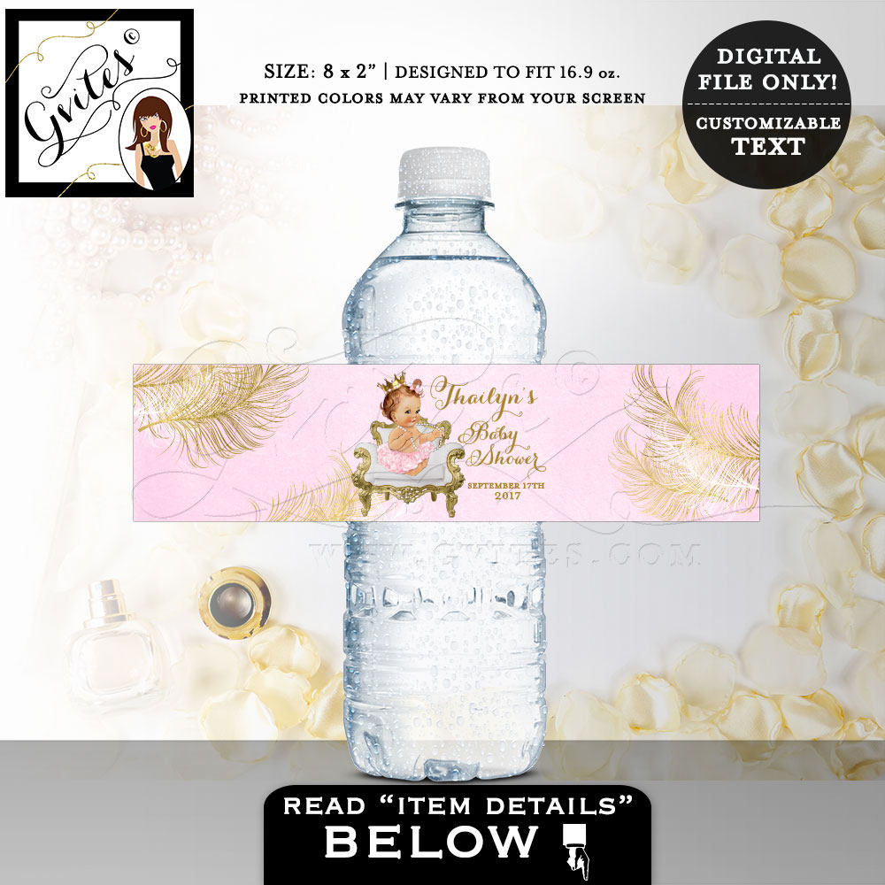 Pink Gold Water Bottle Labels Baby Shower Princess Party Decor