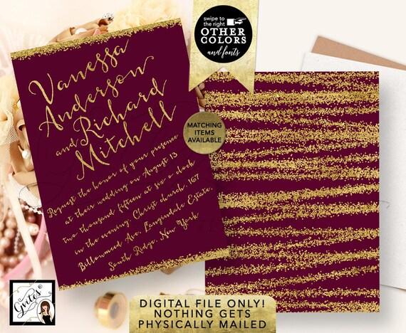 "Gold and Burgundy Wedding Invitations | Purple Glitter Printable | Calligraphy Elegant Modern | 5x7"" Double Sided."
