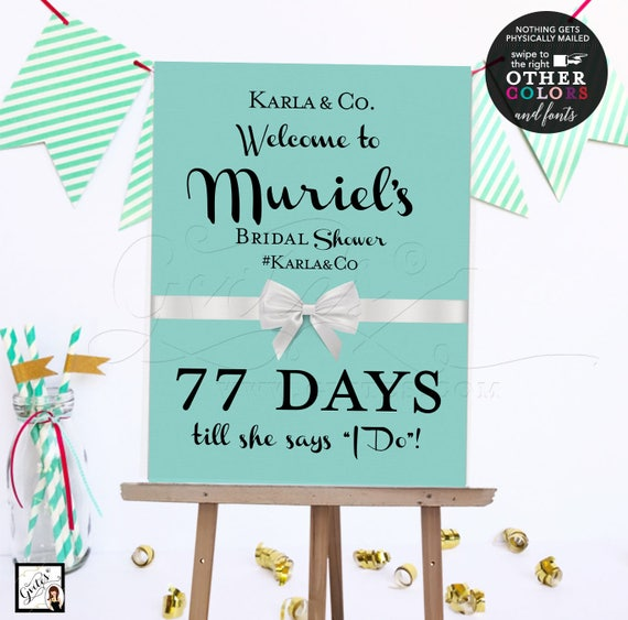 Blue Welcome Countdown Bridal Shower Poster Sign. Digital File.
