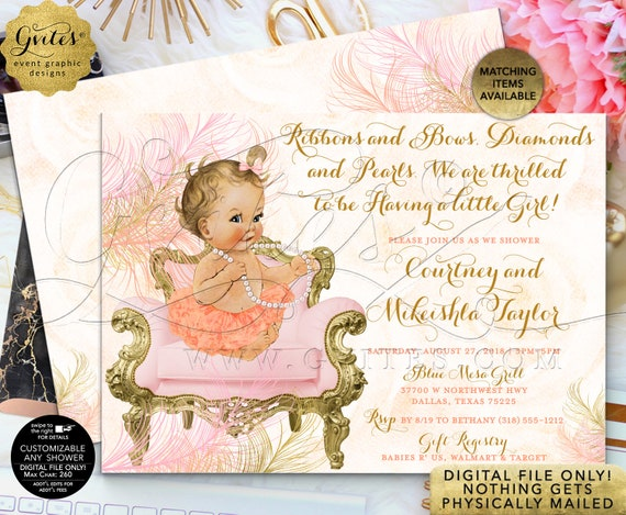 Peach Blush Pink and Gold Baby Shower Invitation | Digital File JPG + PDF | By Gvites