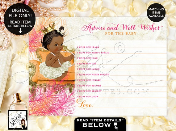 """Advice Cards For Baby, Orange and Pink Shower, Gold Printable Princess Girl Vintage, Crown Ribbons Bows Diamonds Pearls 7x5"""" Gvites"""