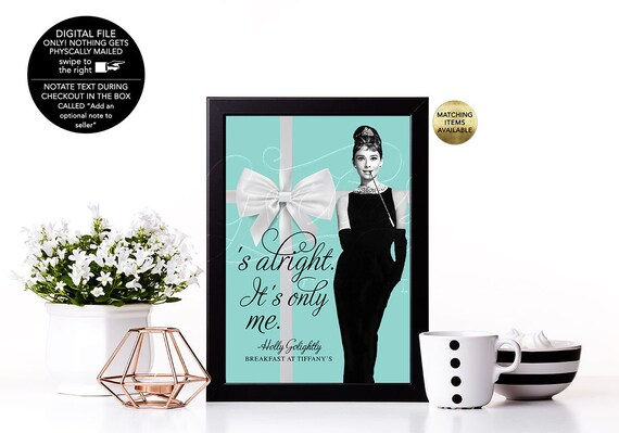 Audrey Hepburn Party Quote Signs/ Turquoise Blue White Bow Breakfast at Party Table Signs/ Vintage Bridal/ Dessert Table Signs. 4x6 or 5x7.
