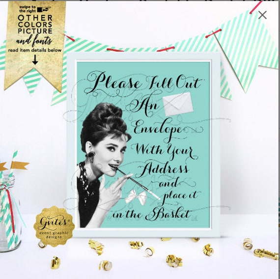 Breakfast Please Fill Out An Envelope/ Write Your Address Sign/ Audrey Hepburn Printable/ Digital/ DIY 8x10 Wedding/ Bridal Shower/ Birthday