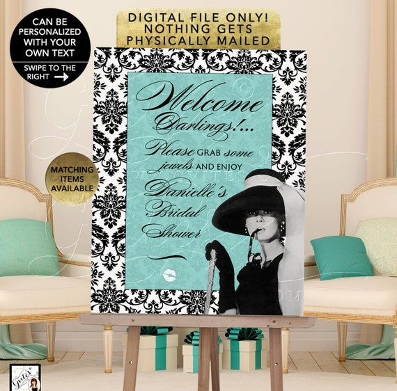 Bridal Shower Welcome Audrey Hepburn Printable Decorations/ Reception Poster For Easel/ Teal/ Blue. Customizable any text/ event.